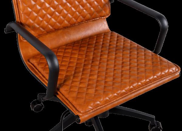 Diamond Softpad Bureaustoel Cognac | Hoge Rug