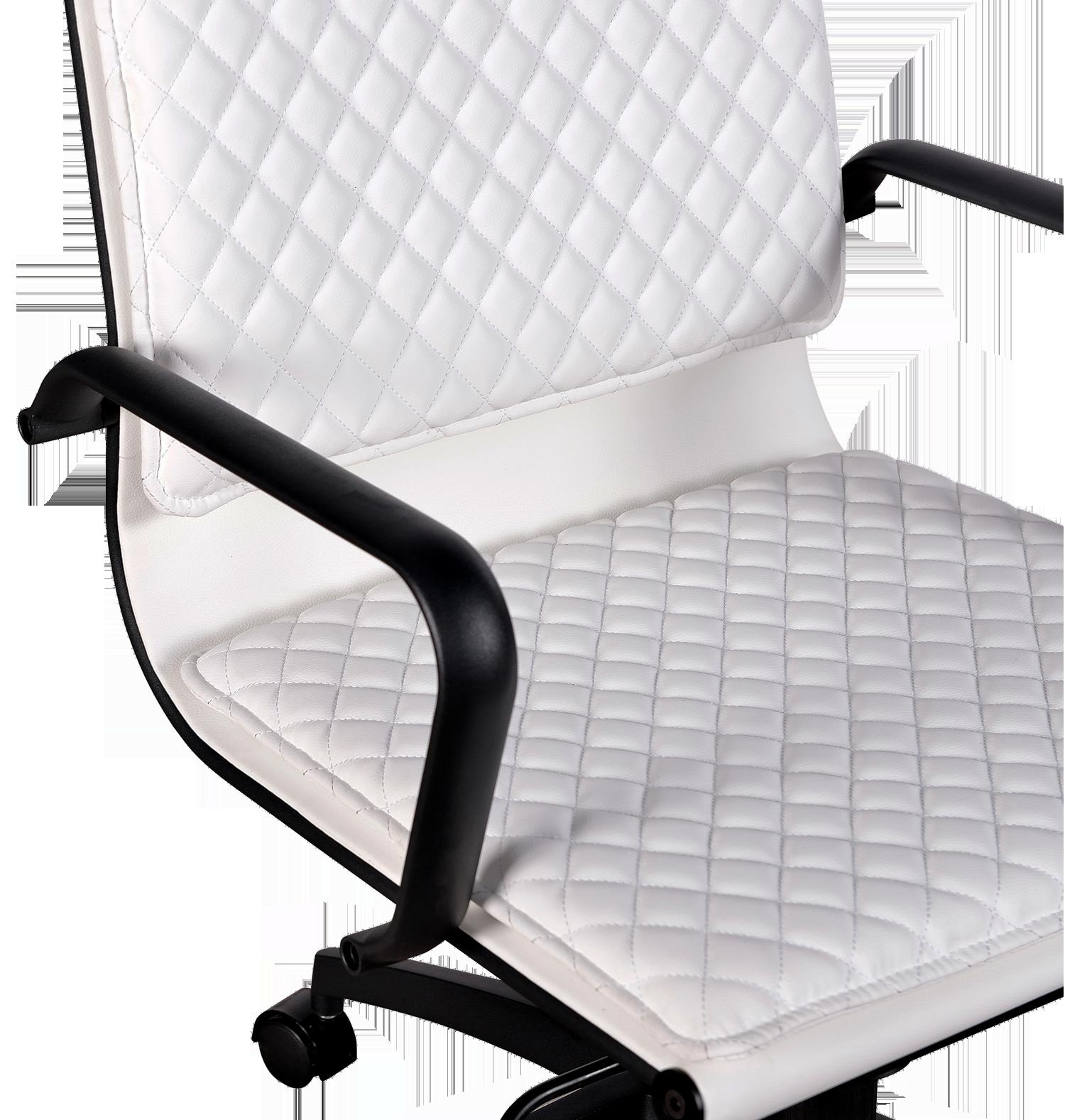 Diamond Softpad Bureaustoel Wit   Lage Rug